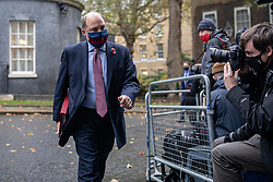 © Licensed to London News Pictures. 20/10/2020. London, UK. Secretary of State for Defence Ben Wallace arrives on Downing Street to attend the cabinet meeting. Photo credit: Rob Pinney/LNP