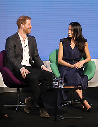 Prince Harry (left) and Meghan Markle during the first Royal Foundation Forum in central London.