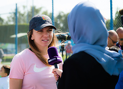 February 12, 2019 - Doha, QATAR - Simona Halep of Romania during a National Sports Day kids clinic at the 2019 Qatar Total Open WTA Premier tennis tournament (Credit Image: © AFP7 via ZUMA Wire)