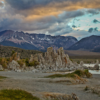 The sun sets over Mono Lake in the Eastern Sierra, as a storm approaches from the south.