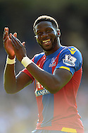 Bakary Sako smiles as he applauds the Palace fans after the final whistle. Barclays Premier league match, Crystal Palace v Aston Villa at Selhurst Park in London on Saturday 22nd August 2015.<br /> pic by John Patrick Fletcher, Andrew Orchard sports photography.