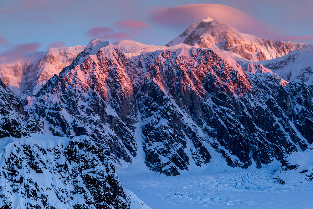 morning pink light with the Ruth Glacier below.