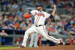 May 15, 2018 - Atlanta, GA, U.S. - ATLANTA, GA Ð MAY 15:  Braves relief pitcher Luis Gohara (53) fires a pitch to the plate during the game between Atlanta and Chicago on May 15th, 2018 at SunTrust Park in Atlanta, GA. The Chicago Cubs defeated the Atlanta Braves by a score of 3 -2.  (Photo by Rich von Biberstein/Icon Sportswire) (Credit Image: © Rich Von Biberstein/Icon SMI via ZUMA Press)