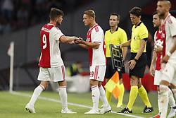 (L-R) Klaas Jan Huntelaar of Ajax, Kaj Sierhuis of Ajax during the UEFA Champions League second round qualifying first leg match between Ajax Amsterdam and Sturm Graz at the Johan Cruijff Arena on July 25, 2018 in Amsterdam, The Netherlands