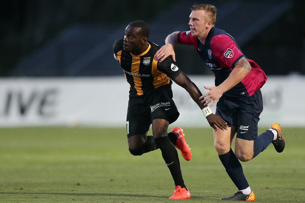 Patrick Okonkwo (17). <br /> Lamar Hunt US Open Cup: Tormenta FC vs. Charleston Battery in the second round at MUSC Health Stadium in Charleston, S.C. on Wednesday, May 16, 2018.<br /> Zach Bland/Charleston Battery