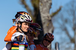World Champion, Lizzie Armitstead signs in with her Boels Dolmans teammates - Flèche Wallonne Femmes - a 137km road race from starting and finishing in Huy on April 20, 2016 in Liege, Belgium.