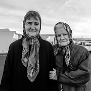 Rhonda Somerton (right) with her mother Dorothy outside their home in the Seaside Mobile Estates in Seaside, Calif. on Nov. 6, 2017.