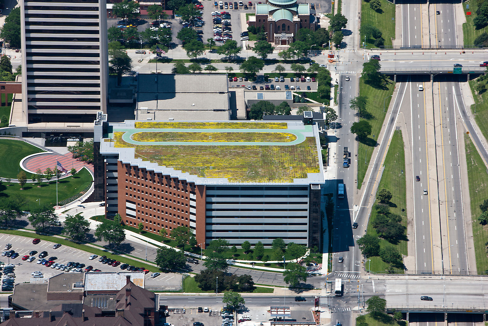 Track and a greenroof on top of 9-story structured parking garage for Blue Cross Blue Shield of Michigan head quarters.