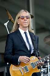 02 May 2015. New Orleans, Louisiana.<br /> The New Orleans Jazz and Heritage Festival. <br /> Davey Johnstone plays the Acura stage with Sir Elton John.<br /> Photo; Charlie Varley/varleypix.com