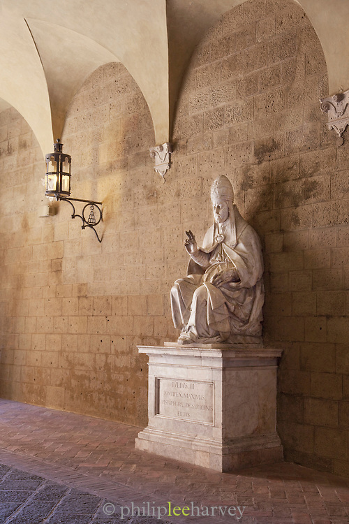 A statue of one of the Pontifex Maximus, the high priest in the College of Pontiffs, seen at a museum in Siena, Tuscany, Italy