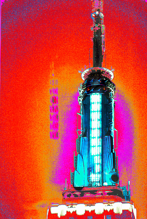 Photo-illustration of the rocketship-like, Art Deco spire of the Empire State Building with computer enhanced colors