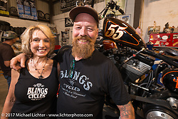Denise and Bill Dodge at Bill's Blings Cycle shop during Biketoberfest. Daytona Beach, FL, USA. Friday October 20, 2017. Photography ©2017 Michael Lichter.