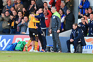 Medy Elito of Newport county celebrates with his manager Warren Feeney after he scores his teams 1st goal to make it 1-1. Skybet football league two match, Newport county v Oxford Utd at Rodney Parade in Newport, South Wales on Tuesday 19th April 2016.<br /> pic by Andrew Orchard, Andrew Orchard sports photography.