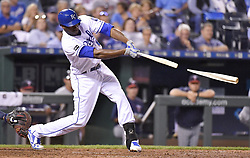 September 7, 2017 - Kansas City, MO, USA - The Kansas City Royals' Lorenzo Cain breaks his bat on a ground out to end the fifth inning against the Minnesota Twins at Kauffman Stadium in Kansas City, Mo., on Thursday, Sept. 7, 2017. (Credit Image: © John Sleezer/TNS via ZUMA Wire)