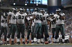 DETROIT - SEPTEMBER 19: The Philadelphia Eagles defense huddles during the game against the Detroit Lions on September 19, 2010 at Ford Field in Detroit, Michigan. (Photo by Drew Hallowell/Getty Images)  *** Local Caption ***