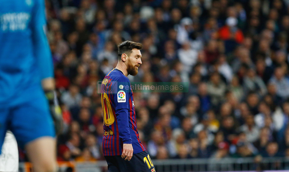 March 2, 2019 - Madrid, Spain - FC Barcelona's Lionel Messi during La Liga match between Real Madrid and FC  Barcelona at Santiago BernabÈu in Madrid..Final Score: Real Madrid 0 - 1 FC Barcelona (Credit Image: © Manu Reino/SOPA Images via ZUMA Wire)