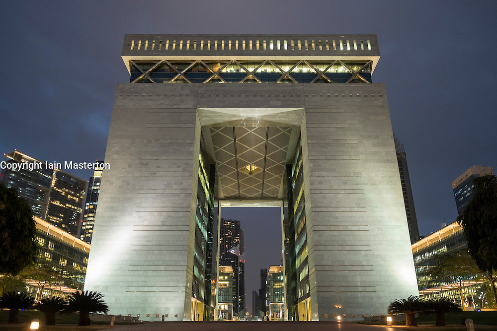 The Gate office building at heart of the DIFC Dubai International Financial Centre in United Arab Emirates