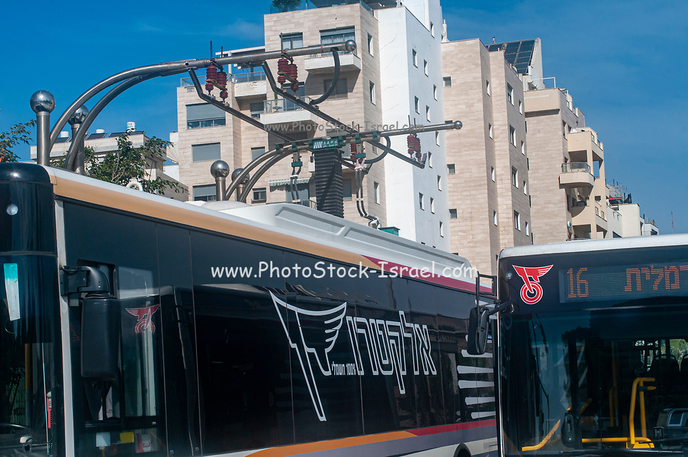 Charging station for electric busses. Photographed in Tel Aviv, Israel buses
