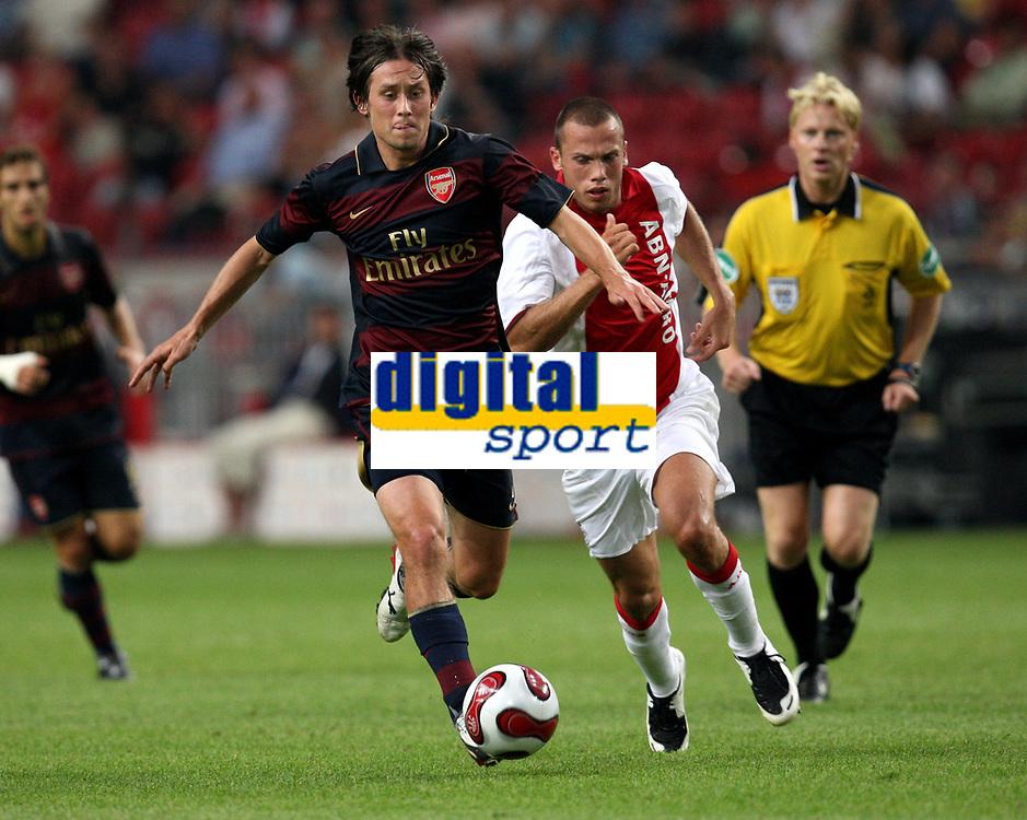 Photo: Maarten Straetemans.<br /> Arsenal v Ajax. LG Amsterdam Tournament. 04/08/2007.<br /> Tomas Rosicky (left) with Heitinga of Ajax