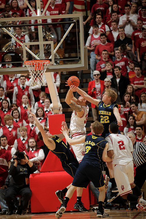 15 January 2011: Michigan Wolverines forward Blake McLimans (22) as the Indiana Hoosiers played the Michigan Wolverines in a college basketball game in Bloomington, Ind.