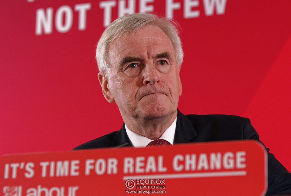 London, United Kingdom - 9 December 2019<br /> John McDonnell gives an economics speech in the run up to the general election 2019, on behalf of the Labour Party at Coin Street Community Builders, London, England, UK.<br /> (photo by: EQUINOXFEATURES.COM)<br /> Picture Data:<br /> Photographer: Equinox Features<br /> Copyright: ©2019 Equinox Licensing Ltd. +443700 780000<br /> Contact: Equinox Features<br /> Date Taken: 20191209<br /> Time Taken: 11351300<br /> www.newspics.com