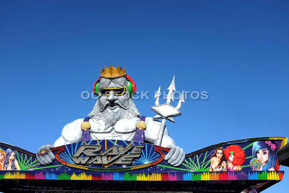 Neptune atop the Rave Wave Ride at the Orange County  Fair