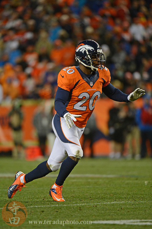 November 17, 2013; Denver, CO, USA; Denver Broncos strong safety Mike Adams (20) runs during the fourth quarter against the Kansas City Chiefs at Sports Authority Field at Mile High. The Broncos defeated the Chiefs 27-17.