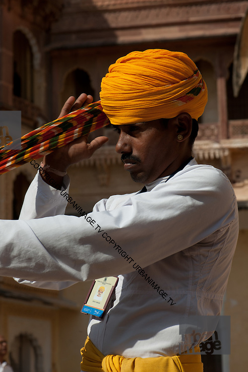 Musician prepares for a performance - Udaipur India 2011
