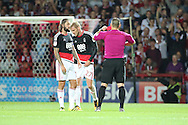 Nottingham Forest defender Damien Perquis (27)  is shown a red card, sent off during the EFL Sky Bet Championship match between Brentford and Nottingham Forest at Griffin Park, London, England on 16 August 2016. Photo by Matthew Redman.