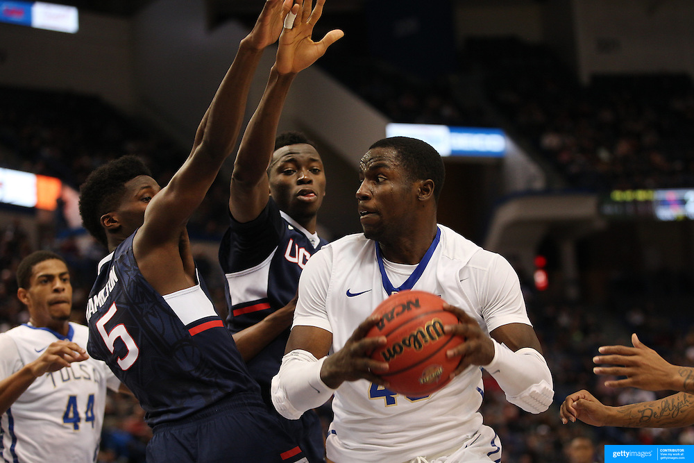 D'Andre Wright, Tulsa, in action during the UConn Huskies Vs Tulsa Semi Final game at the American Athletic Conference Men's College Basketball Championships 2015 at the XL Center, Hartford, Connecticut, USA. 14th March 2015. Photo Tim Clayton