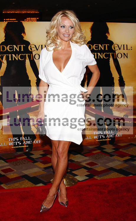 """Pamela Anderson at the World premiere of """"Resident Evil: Extinction"""" held at the Planet Hollywood Resort & Casino in Las Vegas, Nevada, USA on September 20, 2007."""