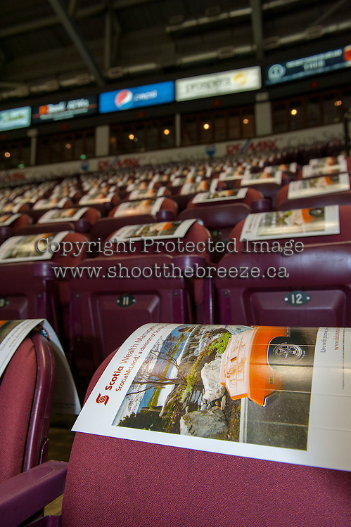 KELOWNA, CANADA - FEBRUARY 10: The seats of Prospera Place covered in clackers from Scotia Wealth Management on February 10, 2017 at Prospera Place in Kelowna, British Columbia, Canada.  (Photo by Marissa Baecker/Shoot the Breeze)  *** Local Caption ***