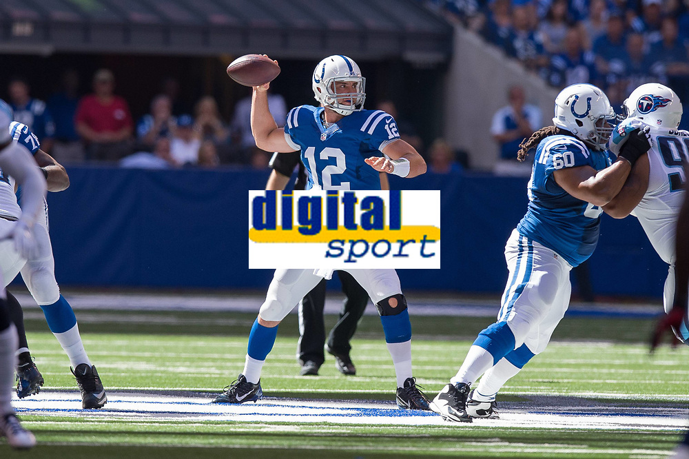 September 28, 2014: Indianapolis Colts guard Lance Louis (60) blocks as Indianapolis Colts quarterback Andrew Luck (12) passes from the pocket during a football game between the Indianapolis Colts and Tennessee Titans at Lucas Oil Stadium in Indianapolis, IN. NFL American Football Herren USA SEP 28 Titans at Colts PUBLICATIONxINxGERxSUIxAUTxHUNxRUSxSWExNORxONLY Icon1409280646<br /> <br /> September 28 2014 Indianapolis Colts Guard Lance Louis 60 Blocks AS Indianapolis Colts Quarterback Andrew Luck 12 Pass From The Pocket during A Football Game between The Indianapolis Colts and Tennessee Titans AT Lucas Oil Stage in Indianapolis in NFL American Football men USA Sep 28 Titans AT Colts PUBLICATIONxINxGERxSUIxAUTxHUNxRUSxSWExNORxONLY