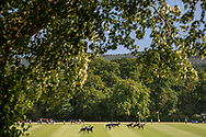 Polo ponies and players in action during the King Power Gold Cup; 2020. Cowdray Park Polo Club. Midhurst, West Sussex. <br /> Picture date: Wednesday July 22, 2020.<br /> Photograph by Christopher Ison ©<br /> 07544044177<br /> chris@christopherison.com<br /> www.christopherison.com<br /> <br /> IMPORTANT NOTE REGARDING IMAGE LICENCING FOR THIS PHOTOGRAPH: This image is sold as an open edition print by the artist. No secondary sales or reproduction permitted unless expressly agreed in writing by the photographer.