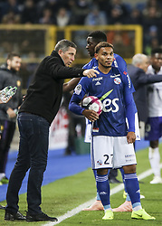 November 3, 2018 - Strasbourg, France - Laurey Tierry Coach Racing Strasbourg, Kenny Lala, during the French Ligue 1 football match between Strasbourg (RCSA) and Toulouse (TFC) on November 3, 2018 at the Meinau stadium in Strasbourg, eastern France. (Credit Image: © Elyxandro Cegarra/NurPhoto via ZUMA Press)