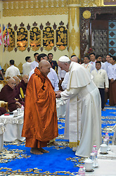 Pope Francis and Bhaddanta Kumarabhivasma, chairman of the supreme council of Buddhist monks, during a meeting with monks of the council at the Kaba Aye Pagoda in Yangon, Myanmar on November 29, 2017. Pope Francis' visit in Myanmar and Bangladesh runs from 27 November to 02 December 2017. Photo by ABACAPRESS.COM