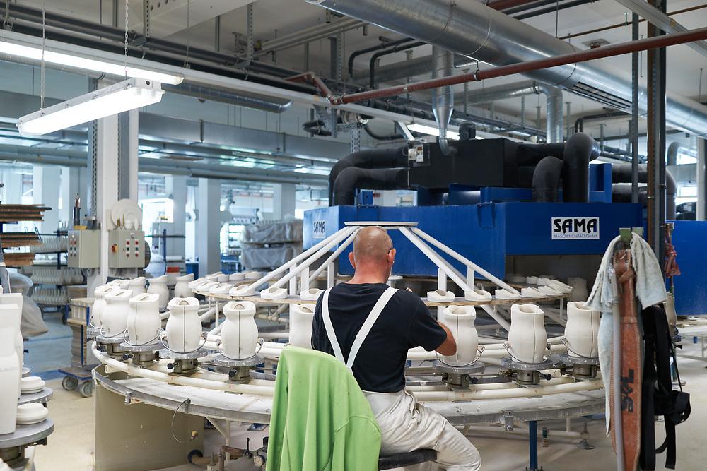 Germany, Berlin, 2019/08/29<br /> <br /> Manufacturing process at KPM (Königliche Porzellan Manufaktur Berlin) on 29/08/2019. <br /> <br /> KPM is Berlin's oldest manufacturing company dating back to 1751. (Photo by Gregor Zielke)