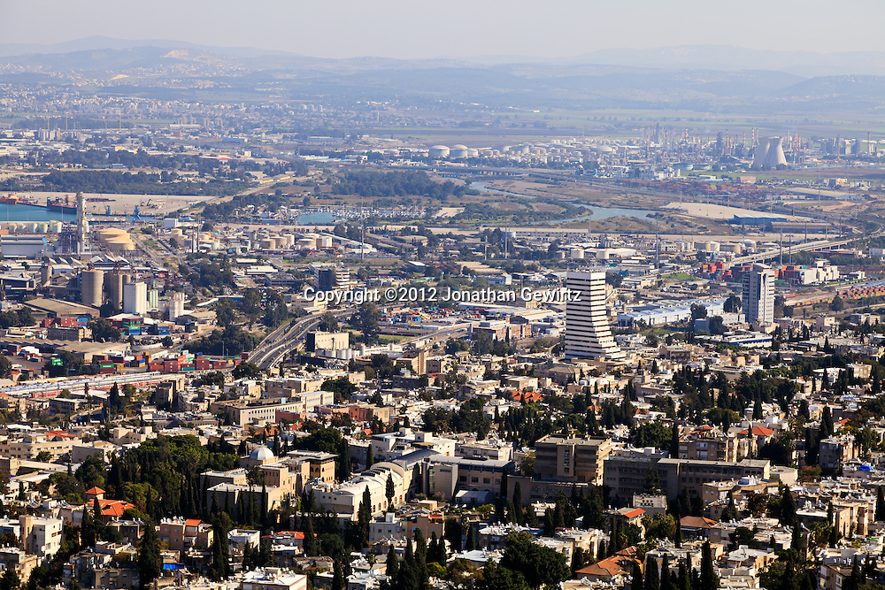 Downtown Haifa and its northern suburbs as seen from the slopes of Mount Carmel. WATERMARKS WILL NOT APPEAR ON PRINTS OR LICENSED IMAGES.