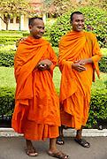 Cambodia,  Phnom Penh, Royal Palace  Silver pagoda Two Buddhist Monks