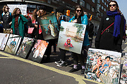 Using some portraits from the project Drowning World by photographer Gideon Mendand some of his flood victim portraits Drowning World during the climate Change protest with Extinction Rebellion blocking Oxford Street and simultaneously stop traffic across central London including Marble Arch, Piccadilly Circus, Waterloo Bridge and roads around Parliament Square, on 15th April 2019, in London, England.
