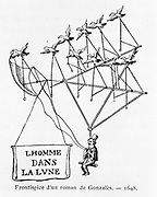 L'homme dans la Lune' (The Man on the Moon) from the frontispiece of novel by Gonzales. Man uses two ropes to guide his aircraft  powered by flying birds.    From 'Histoire des Ballons' by Gaston Tissandier, Paris, 1887. Aviation