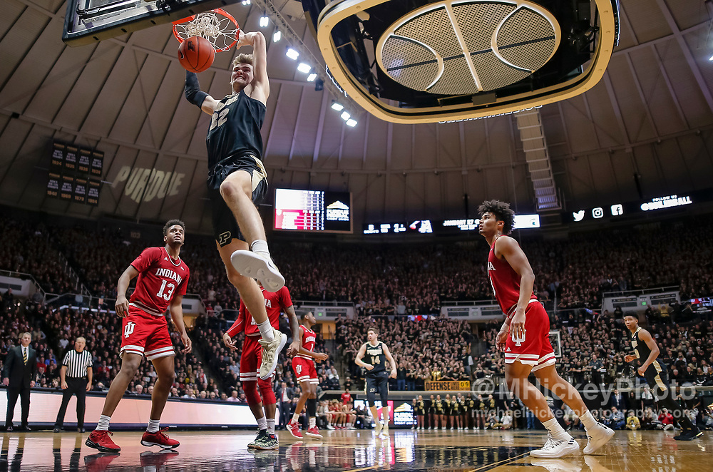 WEST LAFAYETTE, IN - JANUARY 19: Matt Haarms #32 of the Purdue Boilermakers dunks the ball during the second half of the game against the Indiana Hoosiers at Mackey Arena on January 19, 2019 in West Lafayette, Indiana. (Photo by Michael Hickey/Getty Images) *** Local Caption *** Matt Haarms
