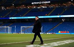 Bristol City head coach Lee Johnson walks across the pitch at the Etihad Stadium  - Mandatory by-line: Matt McNulty/JMP - 09/01/2018 - FOOTBALL - Etihad Stadium - Manchester, England - Manchester City v Bristol City - Carabao Cup Semi-Final First Leg
