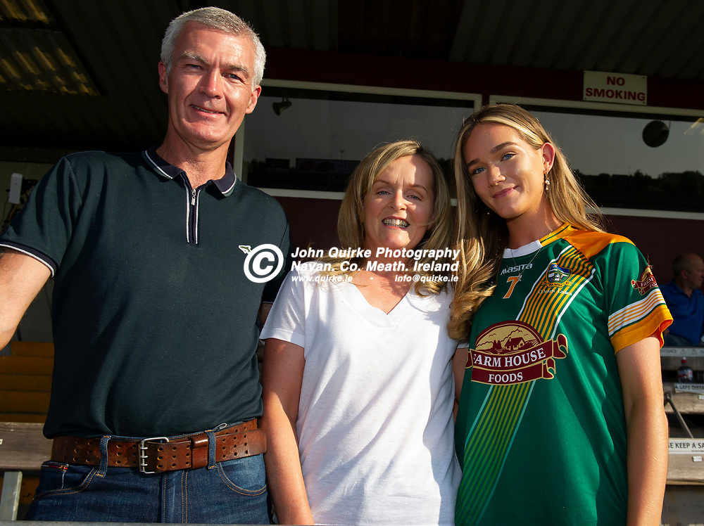 30-06-21. Meath v Offaly - Leinster MFC Final 2020 at TEG Cusack Park, Mullingar.<br /> Supporting the Meath Minors in Cusack Park from left, Mark Geraldine and Sarah Caulfield from Trim.<br /> Photo: John Quirke / www.quirke.ie<br /> ©John Quirke Photography, 16 Proudstown Road, Navan. Co. Meath. (info@quirke.ie / 046-9028461 / 087-2579454).