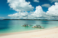 Philippines, Siargao. Bangkas, typical Filipino boats waiting on the sea near Dako Island, one of the tropical island of the archipelago.