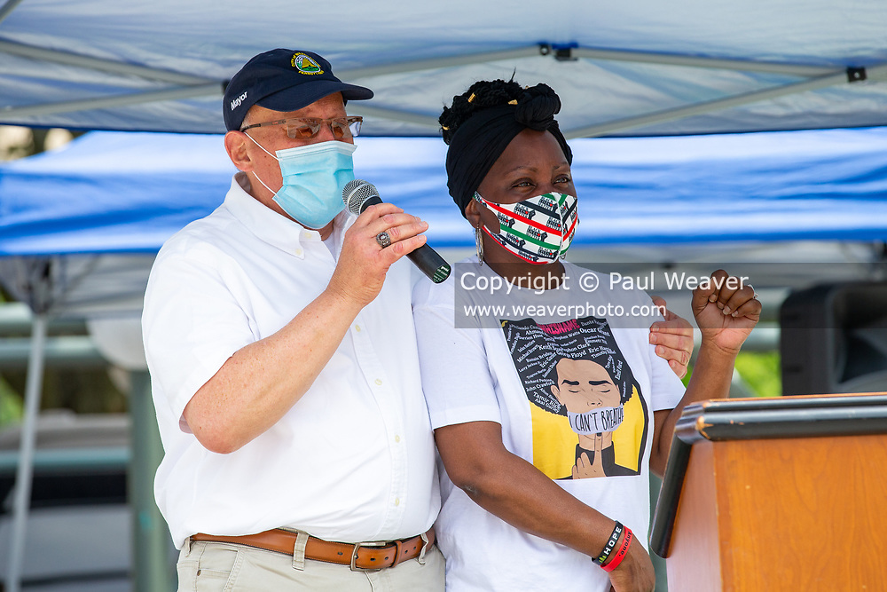 Wilkes-Barre, PA (July 11, 2020) -- Wilkes-Barre Mayor George Brown stands with Darlene Duggins-Magdalinski, founder of United We Stand Divided We Fall, as he speaks during the Black Lives Matter NEPA United Movement event Wilkes-Barre Public Square.