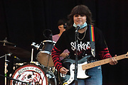 Performance band members of the School of Rock, Tustin, play at the Garden Amphitheater in Garden Grove, California. . September 19, 2021. Photographed by Davis Barber/Video Services, 714-299-9638,