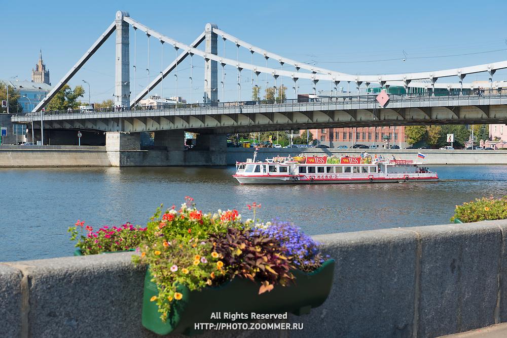 Pleasure boat on Moskva river, Moscow, Russia