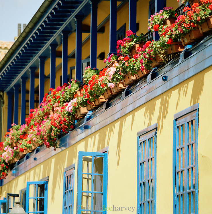 Balconies and window boxes on an apartment building in Oviedo, Asturias, Spain