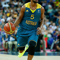 08 August 2012: Australia Patrick Mills brings the ball upcourt during 119-86 Team USA victory over Team Australia, during the men's basketball quarter-finals, at the 02 Arena, in London, Great Britain.